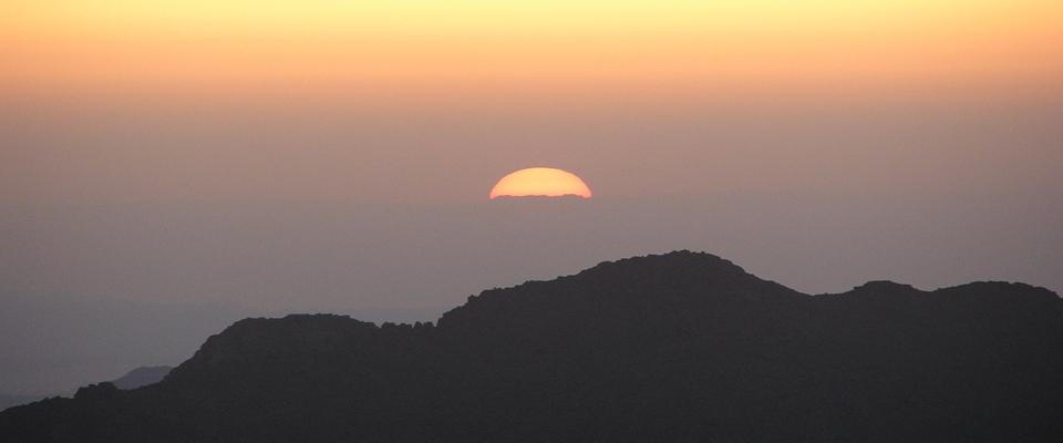 Sunrise over the Sinai mountains.