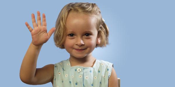 Child waving.